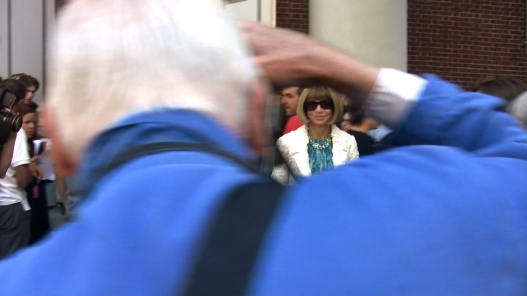 "Bill Cunningham shooting Anna Wintour as she enters a fashion show during Fashion Week in New York City, from the feature-length documentary, ""Bill Cunningham New York,"" ( 2010), directed by Richard Press and produced by Philip Gefter. credit: First Thought Films Contact Philip Gefter: philipgefter@gmail.com"