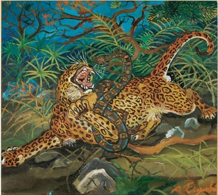 13 - Leopardo con serpente 51 x 56,7 cm