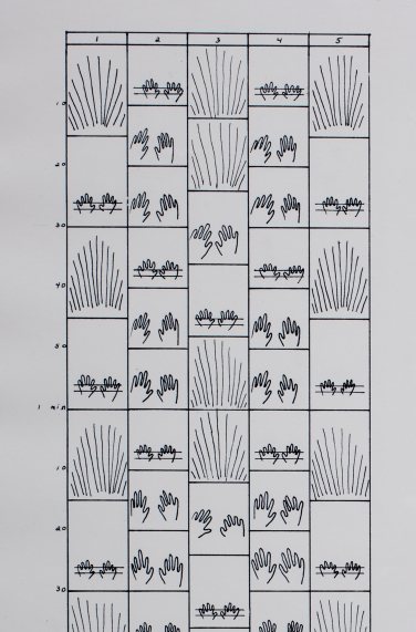 Beryl Korot. Text and Commentary. 1976-77. Five-channel video (black and white, sound; 30 min.), weavings, and pictographic video notations (detail). The Museum of Modern Art, New York. Committee on Media and Performance Art Funds. © 2017 Beryl Korot