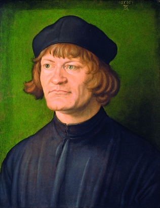 Albrecht Dürer, Portrait of a Clergyman (Johann Dorsch?), German, 1471 - 1528, 1516, oil on parchment on fabric, Samuel H. Kress Collection