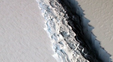 View of a massive rift in the Antarctic Peninsula's Larsen C ice shelf. 2016. Image courtesy NASA/John Sonntag