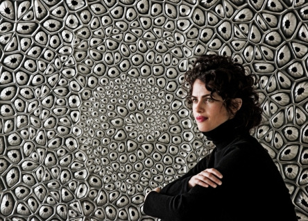 Neri Oxman is shown before a prototype for an environmental screen, Fibonacci's Mashrabiya, work inspired by fractal patterns found in nature. Photo: Len Rubenstein