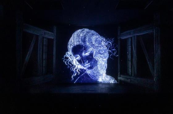 """Aqua, raffigurazione digitale de """"La Scapigliata"""" di Leonardo Da Vinci, foto di Andrea Mariani"""